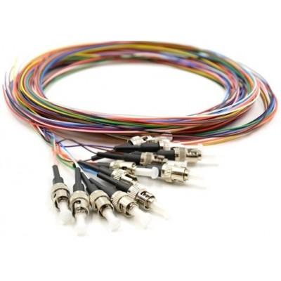 Pigtail multimode OM3 50/125µ ST rainbow lot de 12 - 2m