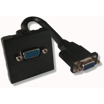 Plastron noir 45 x 45 VGA  HD15 cordon femelle 0m20