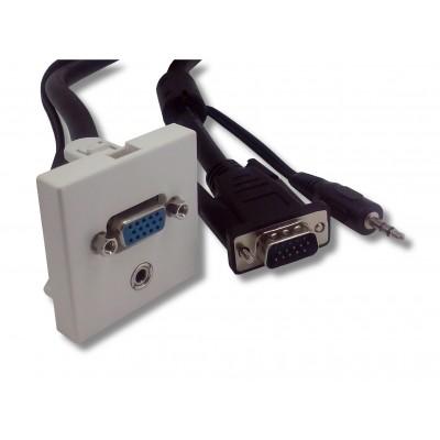 Plastron blanc 45 x 45 VGA + cordon mâle - 5m00