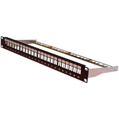 Panneau de brassage 19''  1U  24 ports format keystone blindé noir (RAL 9005)