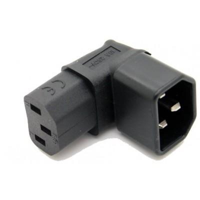 Convertisseur horizontal angle droit IEC C14 mâle vers IEC- C13 femelle