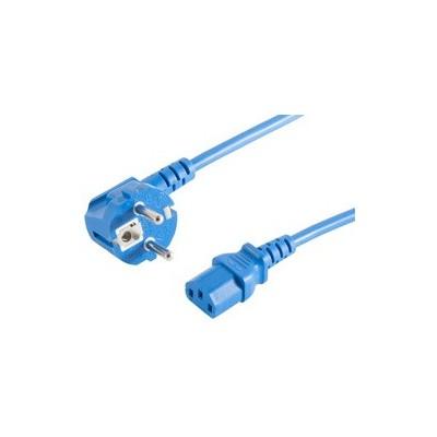 Cordon d'alimentation schuko mâle coudé- C13 femelle droit bleu  – 1m80