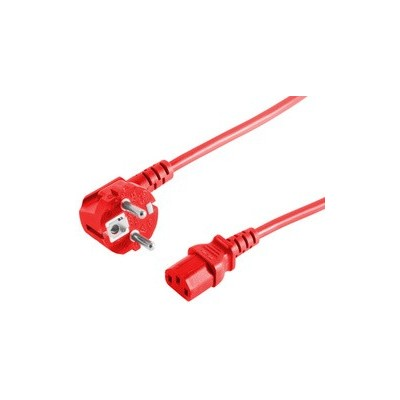 Cordon d'alimentation schuko mâle coudé - C13 femelle droit rouge  – 1m80