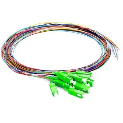 Pigtail monomode OS2 9/125µ SC/APC rainbow lot de 12 - 1m