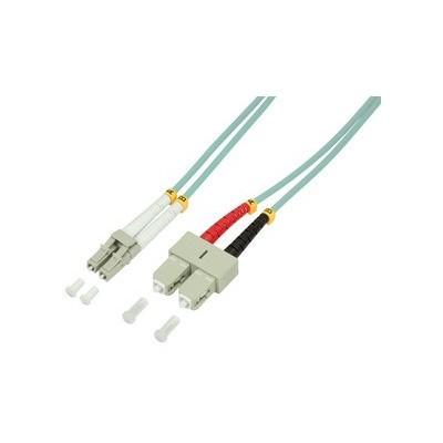 Jarretière optique multimode OM3 duplex 50/125µ  LC/SC - 1m00