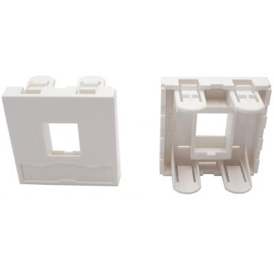 Plastron 1 port RJ45 keystone 45x45 blanc compatible noyau 3M