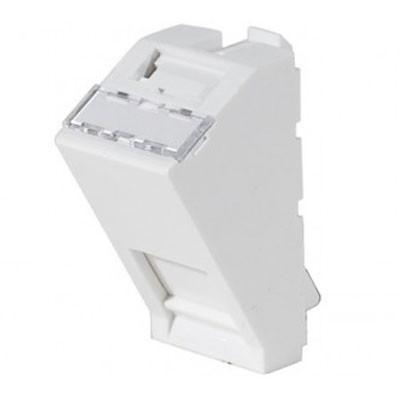 Plastron 1 port RJ45 keystone 22.5x45 incline à 40° blanc
