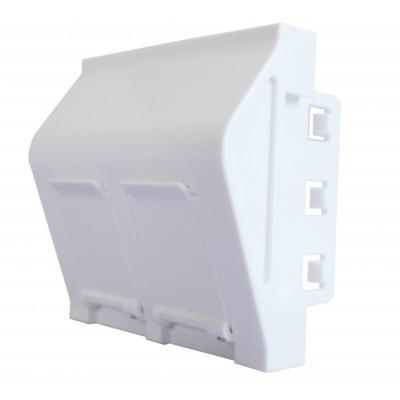 Plastron 2 ports RJ45 keystone 45x45 incline à 40° blanc