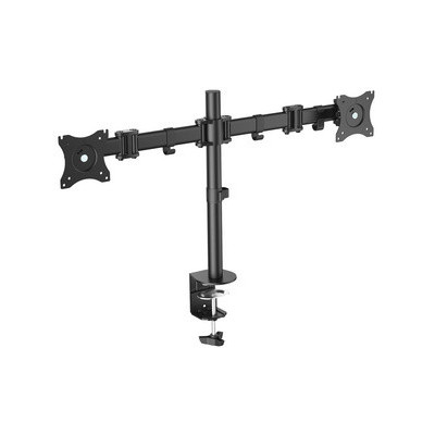 Bras pivotant pour moniteur LCD/LED Dual noir avec pince de table adapté pour moniteurs jusqu'à 68
