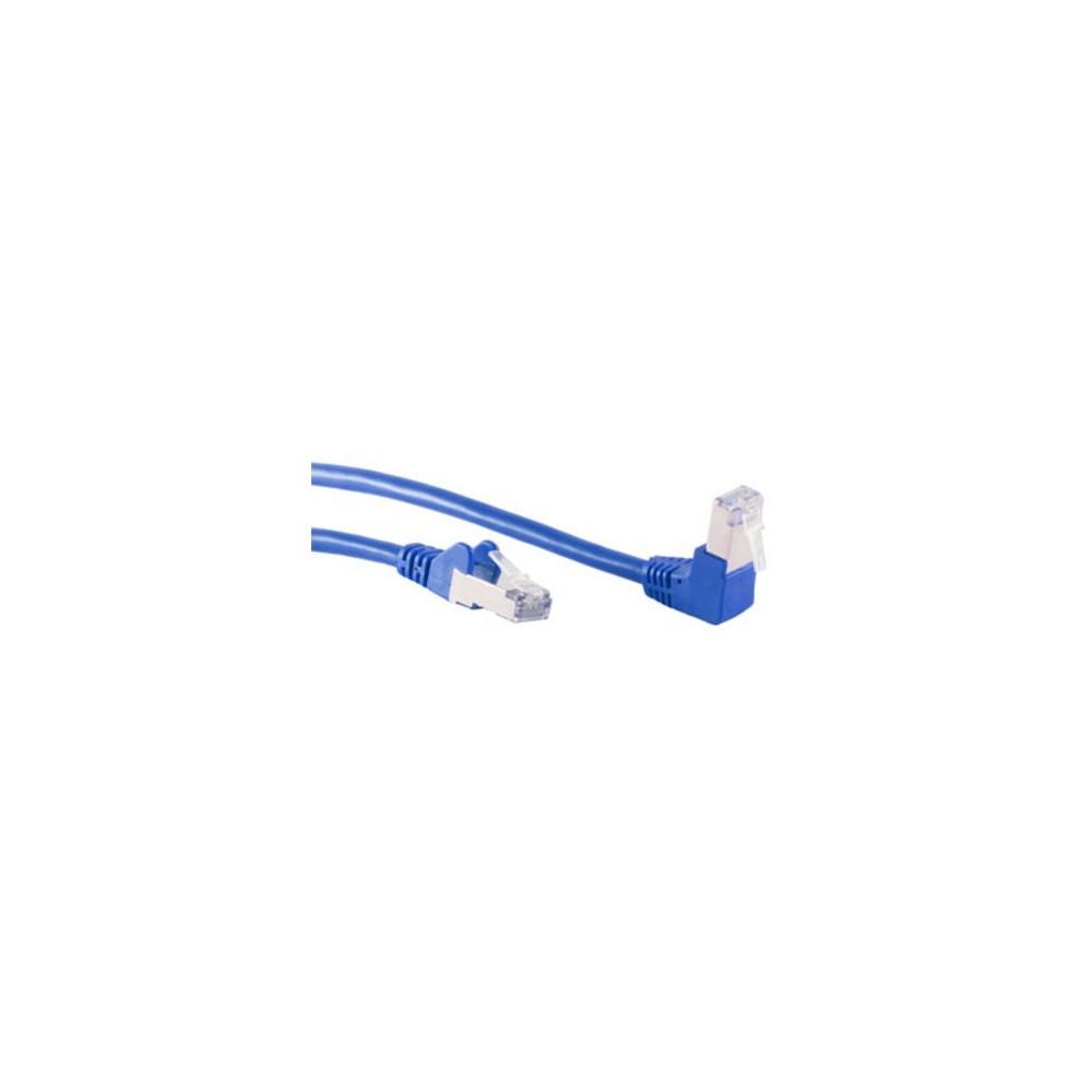 Cordon catégorie 6  S/FTP mâle coudé  mâle droit bleu – 1m00